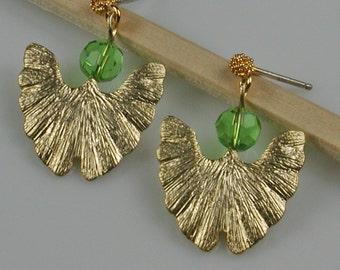 Gold and Green Gingko Leaf Post Earrings