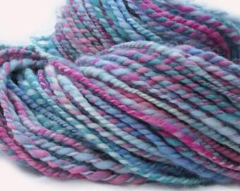 Muted jewel tones handspun wool yarn, local blend, 134 yards