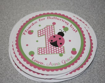 Ladybug Favor Tags / Ladybug Tags / Ladybug Gift Tag / Ladybug Birthday Party / Pink Ladybug Favor Tag / Any Color or Age / Set of 12