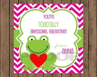 FROG Valentine Favor Tags / Frog Favor Tags / Valentine Favor Tags / Toadally Valentine Tags / Valentine Tags / PRINTABLE / Set of 12