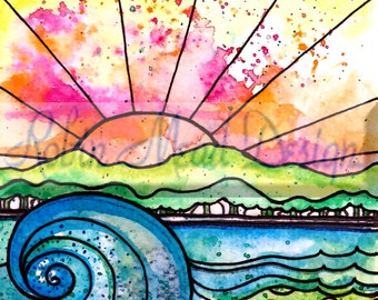 Break of Day  beach waves print sun sunset beach sunrise art print flowers art print