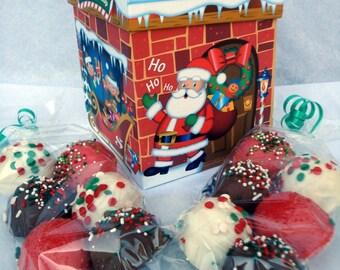 Gift Box: Santa Gift Box with Bitty Bite Cake Balls. Great Christmas Gift. Perfect for grandchildren. Candy Cake Truffles