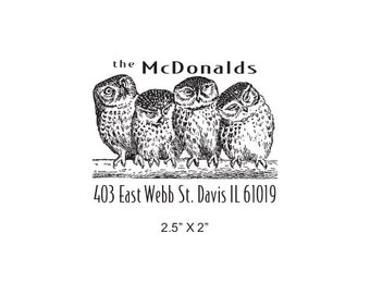 Four Owls Custom Return Address Rubber Stamp AD288