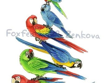 Macaw Stack Painting Print - Wall art, bird stack, hyacinth macaw, spix, scarlet, blue and gold, greenwing, parrot, psittacine