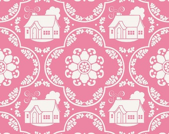Daisy Cottage - Lori Holt Fabric From Riley Blake - Pink Houses - 2751 - 8.75 Per Yard