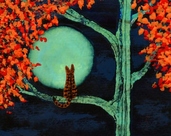 Orange Tabby Cat  Folk Art print by Todd Young painting AUTUMN MOON