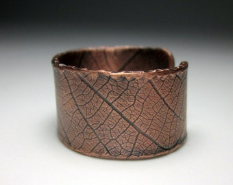 leaf copper ring open