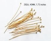 26 GA, 1.75 inch, 24kt karat Gold Vermeil Headpin with Ball, PK20