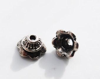 Sale - Antique Silver Pewter Flower Caps,  9MM, PK12
