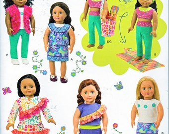 """Simplicity 1513 18"""" Doll Clothes Fits American Girl Clothing Bag Crochet Yoga Mat Sewing Pattern Brand New Fall 2013 UNCUT"""