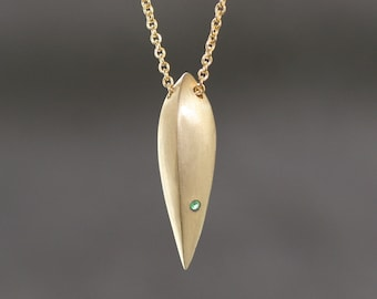 Seed Pod Necklace in Brass with Green Tsavorite