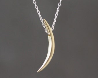 Long Crescent Moon Necklace in Brass and Sterling Silver