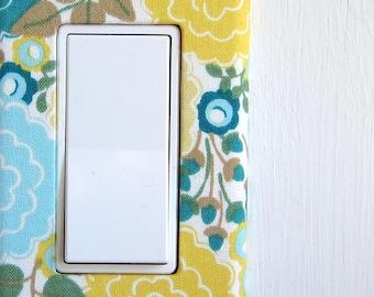 Light Switch Plate Cover, slider/rocker wallplate, wall decor - yellow and blue flowers