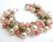 Pink Beaded Bracelet, Spring Blossom, Cluster Pearl Bracelet, Bridal Jewelry, Wedding, Pearl Bridesmaid Bracelet, Pink and Green Bracelet