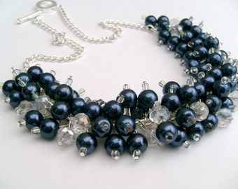 Pearl Beaded Necklace, Navy Blue and Crystal Bridesmaid Jewelry, Cluster Necklace, Chunky Necklace, Navy Jewelry, Wedding Jewelry