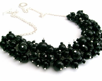 Black Pearl Beaded Necklace, Bridesmaid Jewelry, Cluster Necklace, Chunky Necklace, Bridesmaid Gift,  Pearl Crystals Kim Smith, Wedding