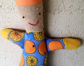 SALE: 5 dollars off - Handmade elf tomte doll - orange slices print