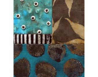 Original Mixed Media Abstract Fiber Art Collage - Stream's Edge