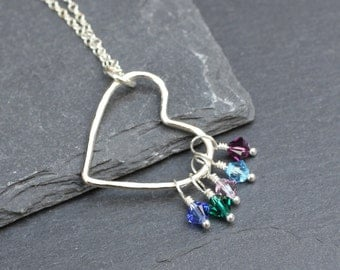 Heart Birthstone Necklace, Sterling Silver and Swarovski Crystal Mother's Necklace
