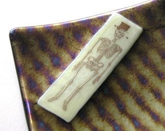 Mr Bones - Skeleton on Dark Iridescent Glass - Small Dish - Candle Holder
