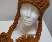 "caramel hat  pumpkin hat tan hat crochet hat knit hat long ties hat ""flavor"""