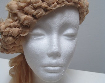 "apricot crocheted hat, made from upcycled chiffon scraps ""dream"""