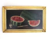 RESERVED early american oil on board original painting watermelon still life 19th century folk art primitive 1800s lemon gilt frame
