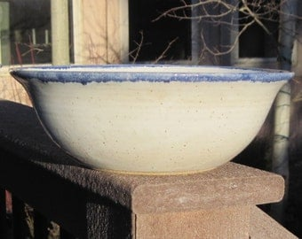 White Pottery Bowl with Blue Rim - Handmade Pottery