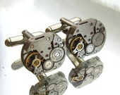 Steampunk Jewelry, Steampunk Men's small rectangular  Watch Cufflinks  Fathers Day Wedding Anniversary  Vintage upcycled mens Cuff Links