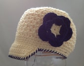 Crocheted  Newsboy Cream Flower Choose Your Size  Brimmed Hat