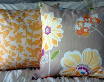 Delray Floral Pillow in Yellow and Purple / graphic abstract modern pillow / teen and preteen bedding / dorm room bedding / oversized pillow
