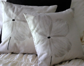 Avery Pillow Pair / minimalist pillows / modern abstract floral / neutral gray & black / masculine bedding / pillow set / fresh clean lines