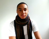 Long Crochet Scarf. Bold Stripes.Charcoal, Black, Olive, Forest, Wine, Navy. Cozy and Chunky.
