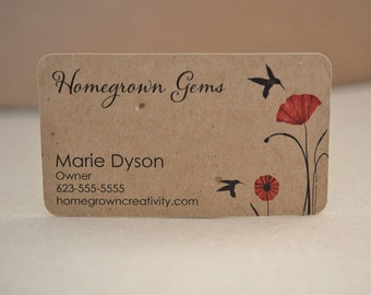 Recycled Kraft Brown Business Cards Birds Red Poppy Flowers