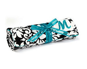 Set of 10 Travel Jewelry Roll in Black White Damask with Monogram - Wedding favor or gift