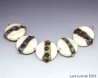 Ivory and Teal Handmade Lampwork Bead Set (5)