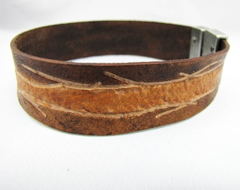 Leather Bracelet/Cuff - Tree Wire -