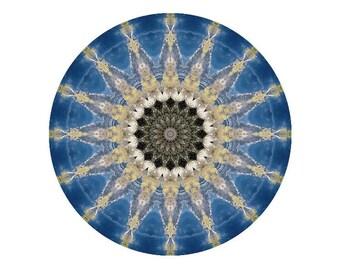 Mandala Art Print in Blue, Gold, White and Brown - The Ancestral Line Mandala