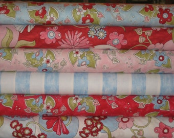 Flowering Around from  Clothworks, 1/2 yard combo of 6 prints