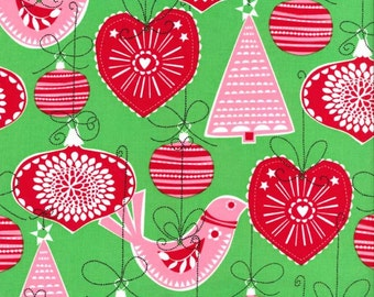 Michael Miller Fabrics, Ornaments for All in Green, yard
