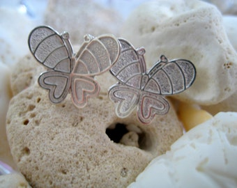 Sterling silver Butterfly Post Earrings-- dancing Butterflies Earrings-floating butterflies Earrings-for her under 25-gift-bride-bridemaids