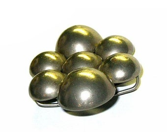 Vintage Large Belt Buckle Not So Tiny Bubbles Silver Tone Metal ca 1960s