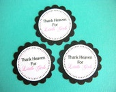 25 Scalloped Circle Thank You Heaven For Little Girls Baby Shower Favor Tags in Black and White and Pink - READY TO SHIP