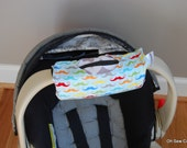 Cute NEW DESIGN Mustaches and Gray Chevron REVERSIBLE Car Seat Handle Arm Pad with Hand Grip