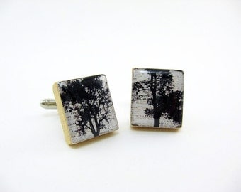 Handmade Cufflinks Cuff Links / summer trees / black white / using vintage Scrabble wood tiles
