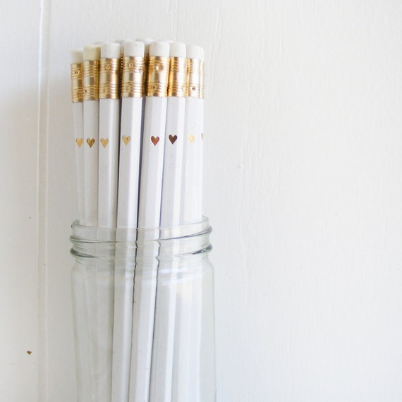 White Pencils With Gold Foil Petite Heart Set Of 24