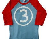 Third Birthday Number 3 boys Red and Blue birthday shirt