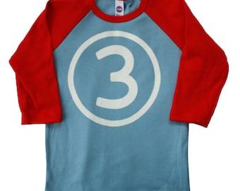 Third Birthday Number 3 boys Red and Blue birthday shirt
