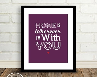 Home is Wherever I'm with You : Quotes, Lyrics and Inspirations - 8x10 custom color print - Gift for Mom - Office Art