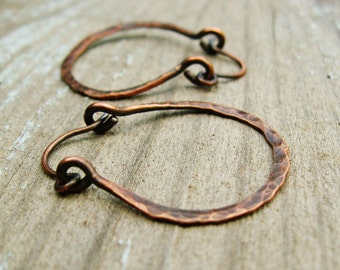 Hammered Copper Hoops - antiqued copper everyday hoop earrings